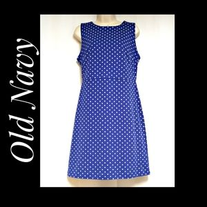 Old Navy Blue White Polka Dot Sheath Dress Size M